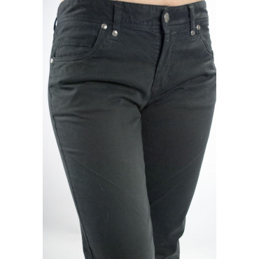 COTTON BELT Pantaloni Donna Nero 44-46 31 5Tasche Puro Cotone