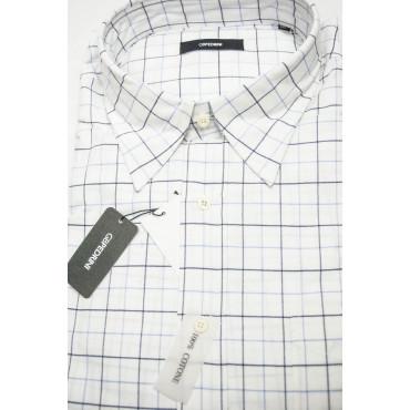 Camicia Uomo Classica XXL 46-47 Bianco Quadri Celeste Oxford Collo Morbido