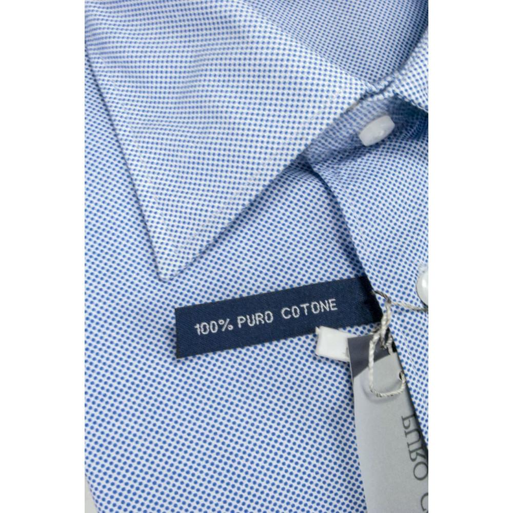 Camicia Uomo taglia M Pois Blu su Bianco Collo Italia Popeline - vestibilità dritta