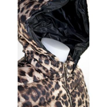 Jacket Down Jacket Hood Women 42 S Leopard Beige Down Jacket VLab