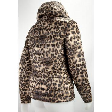 Giacca Piumino Cappuccio Donna 42 S Leopardo Beige Down Jacket VLab