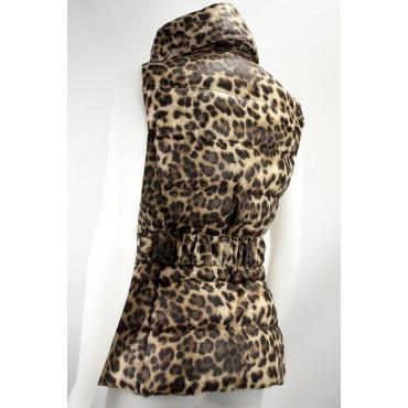 Gilet Piumino Cappuccio Donna 42 S Leopardo Beige Down Jacket VLab