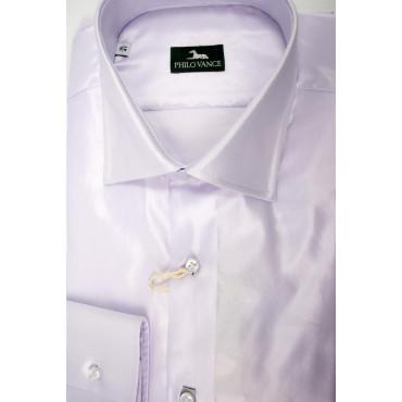 Man shirt Slim 41-16 neck French Shiny fabric Lilac Elegant - Philo Vance