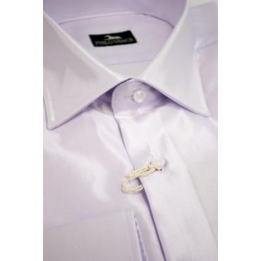 Camicia Uomo Slim 41-16 collo Francese tessuto Lucido Lillà Elegante - Philo Vance