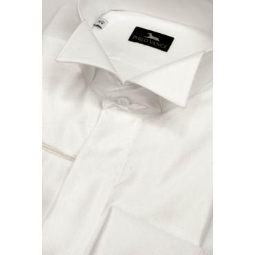 Camicia Uomo Smoking collo Coda di Rondine tessuto Lucido Bianco, taglie 39-46