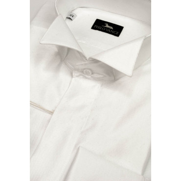 Man shirt Tuxedo neck Dovetail Shiny fabric White, sizes 39-46