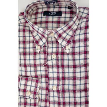 Camicia Uomo Flanella Bianco Quadretti Rosso collo ButtonDown