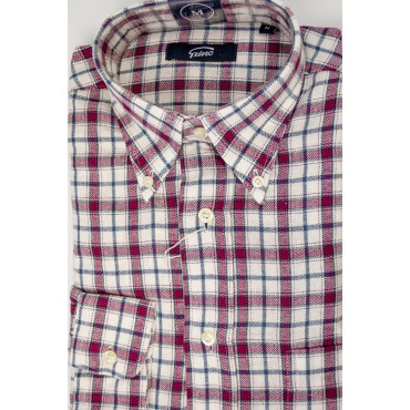Man shirt Flannel White Checkered Red neck ButtonDown
