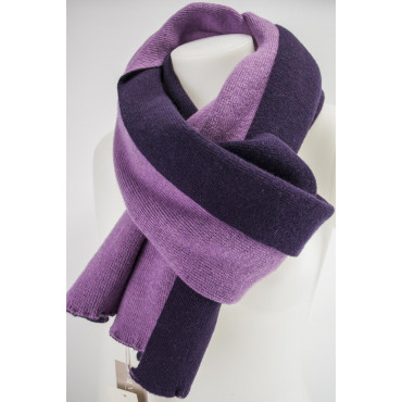 Great Scarf Women's Purple Reversible Pink Knit Cashmere 220x45 - Very Chic!