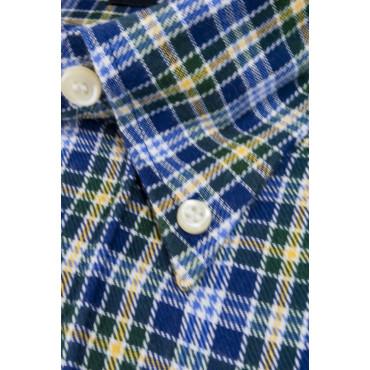 Camicia Uomo ButtonDown Quadretti Blu Giallo Scozzese Flanella - S M L XL XXL