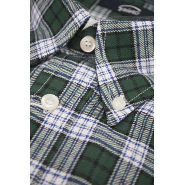 Camicia Uomo XL Flanella ButtonDown Scozzese Verde Tartan