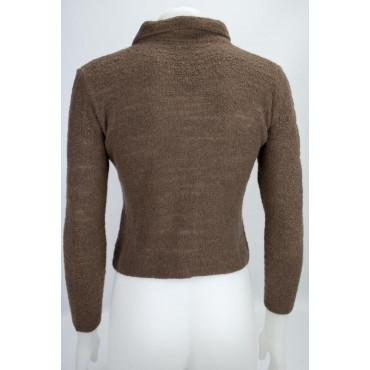 Knit Woman Cardigan Zip Slim XXS 38 Brown 100% Cashmere - Yarn, Bouclé