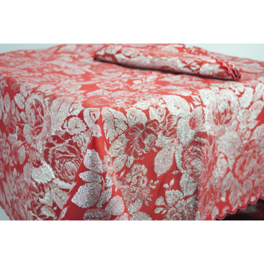 Rectangular Tablecloth x12 Red and Silver Roseto 270x180 +12 Napkins ref. scallop 8036