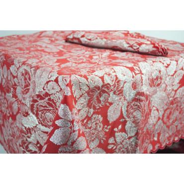 Tablecloth Rectangular x12 Red and Silver Roseto 270x180 +12 Napkins ref. rebrodé 8036