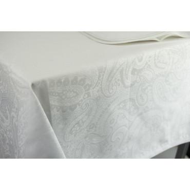 Tovaglia Rettangolare x12 Bianco fantasia Cachemire 270x180 +12Tovaglioli Rif. Fettuccia 8221