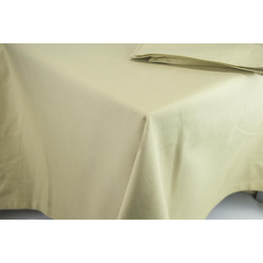 Square Tablecloth 240x240 - Plain Sand - Indhantrene Heavy Satin - For Catering