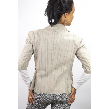 Giacca Donna Manica 3/4 taglia 42 S - Cotone beige righe