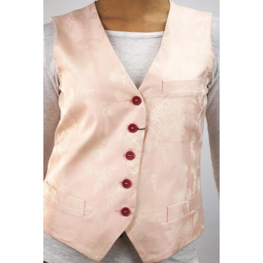 Ladies Gilet size 42 S - Brocade-Pink-Flowers-Ivory - Cotton