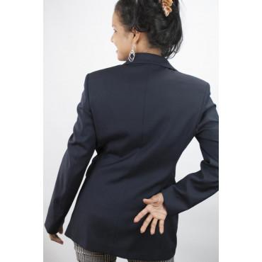 Giacca Blazer Lunga Donna taglia 42 - Blu Scuro Frescolana - Sfoderato - No Brand Sample