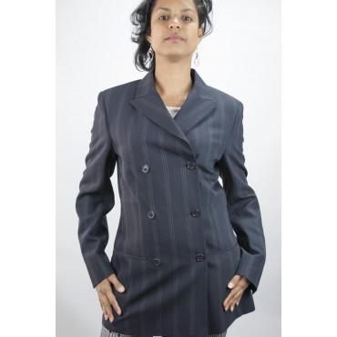 Jacket Blazer Women Lapel Puntalancia size 42 - Pinstripe Blue Frescolana - No Brand Sample