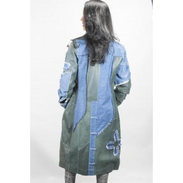 Cappotto Jeans Lungo Donna taglia 42 - Patchwork fiori e pelle
