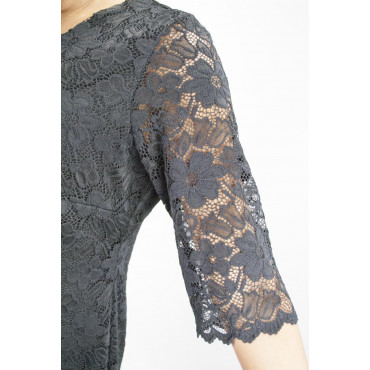 Pierre Cardin Sheath Dress Woman 42 Black Lace