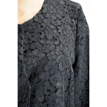 Pierre Cardin Dress Woman L 46 Black Lace Sheath Dress - Wide Shoulder Strap