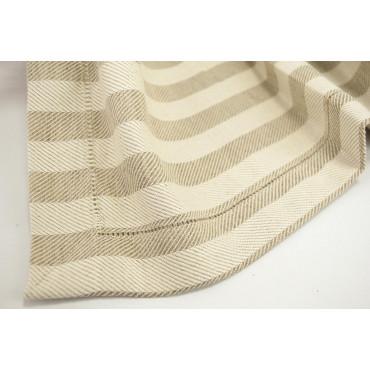 Great Runner Strip centrepiece beige and ecru striped Linen blend Refracted 45x220 - ref. Hemstitch