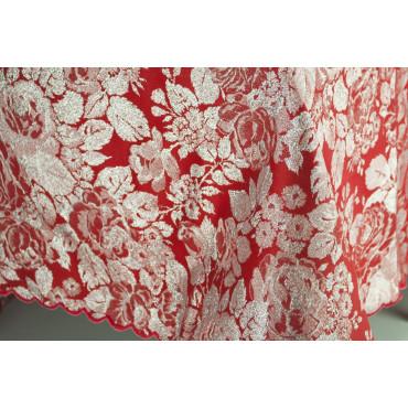 Tovaglia Rettangolare x16 Rosso e Argento Roseto 360x180 +16 Tovaglioli rif. smerlo 8036