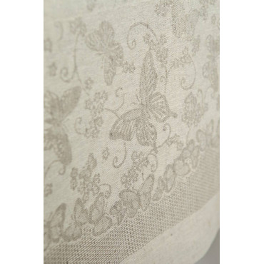Raw Ecru Linen Blend Tablecloth - Jaquard Butterflies, Flowers - All sizes