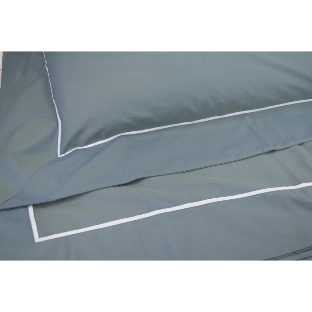 Sheets Single-Blue/Blue Matte Satin Reversible 160x290 under the corners 85x200 +1Federa 3 ruffles 7084