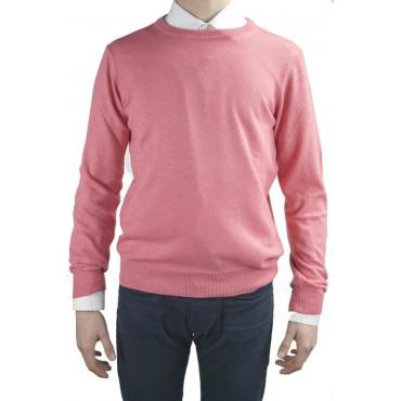 Shirt mens Light crew neck Coral Pink S M L XL XXL - Cashmere Wool