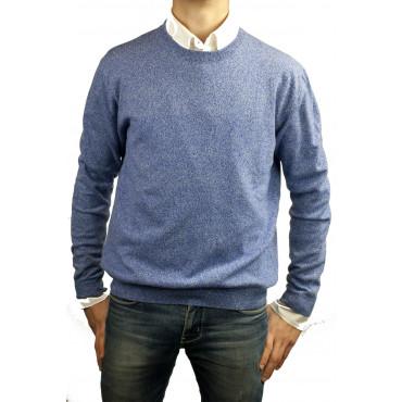Pullover Pure Cashmere crew neck 50 L Blue Melange Raglan 2Fili