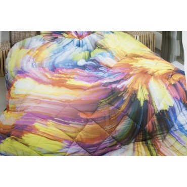 Duvet Quilt Double Strokes, Bright Colors Digital Print