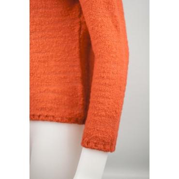 Mesh Women's High Neck Slim S 42 Orange 100% Cashmere - Yarn, Bouclé