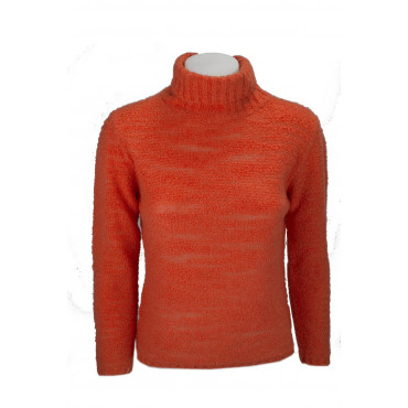 Maglia Donna Collo Alto Slim S 42 Arancio 100% Cachemire - Filato Bouclè