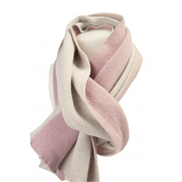 Grande Sciarpa Donna Rosa Doubleface Rosa Chiarissimo Maglia Misto Cachemire 200x45 - Very Chic!