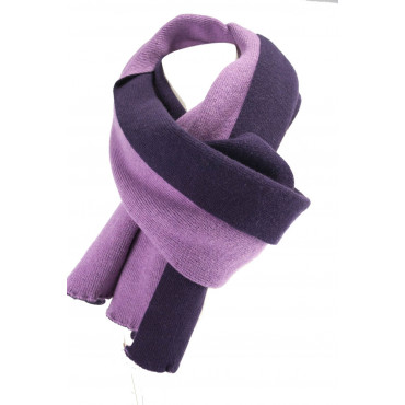 Gran Bufanda de las Mujeres de color Púrpura y Reversible Rosa de punto de Cachemir 220x45 - Muy Chic!