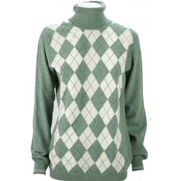 Mesh High Neck Women's XL Green Diamond 2Fili Merino Wool - Fit Straight
