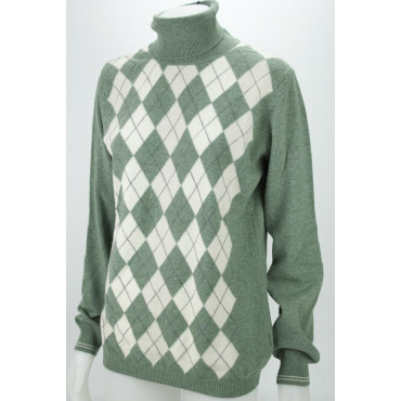 Maglia Collo Alto Donna XL Verde a Rombi 2Fili Lana Merinos - Vestibilità Dritta