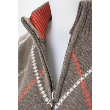 Knit Half Neck Zip Women's M Brown Diamond 3Fili Merino Wool