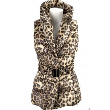 Vest Down Jacket Hood Women 42 S Leopard Beige Down Jacket VLab