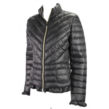 Jacket Down Jacket Lightweight Women's 46 L Black Ruffles Lightweight Down Jacket VLab