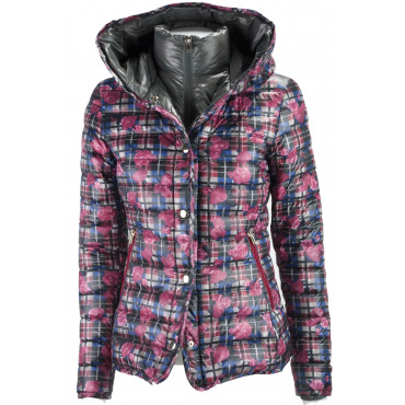 Jacket Down Jacket Hood Women 42 S Floral Plaid Red Blue Down Jacket VLab