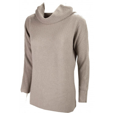 Mesh High Neck Women's XL Beige Taupe Cashmere Grain of Rice 3Fili