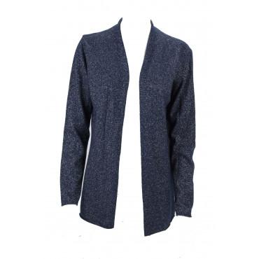 Cardigan Dress Open Woman M Dark Blue Bright Merino Cashmere - Fit Straight
