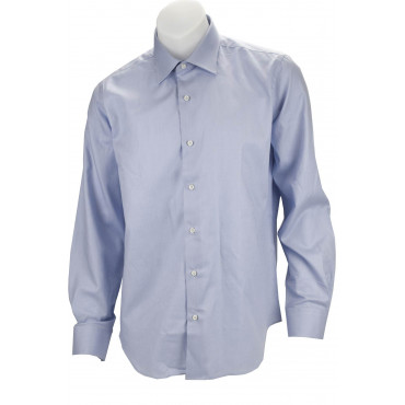 Man Shirt Stylish Blue Fabric Woven Without A Breast Pocket - Philo Vance - The Conero