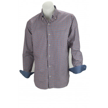 Shirt Man Burgundy Blue Checkered cotton Twill with a breast Pocket - Philo Vance - Bemberg