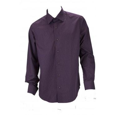 Shirt Casual Men's Burgundy polka dot design White Poplin Fabric - Philo Vance - Emilia