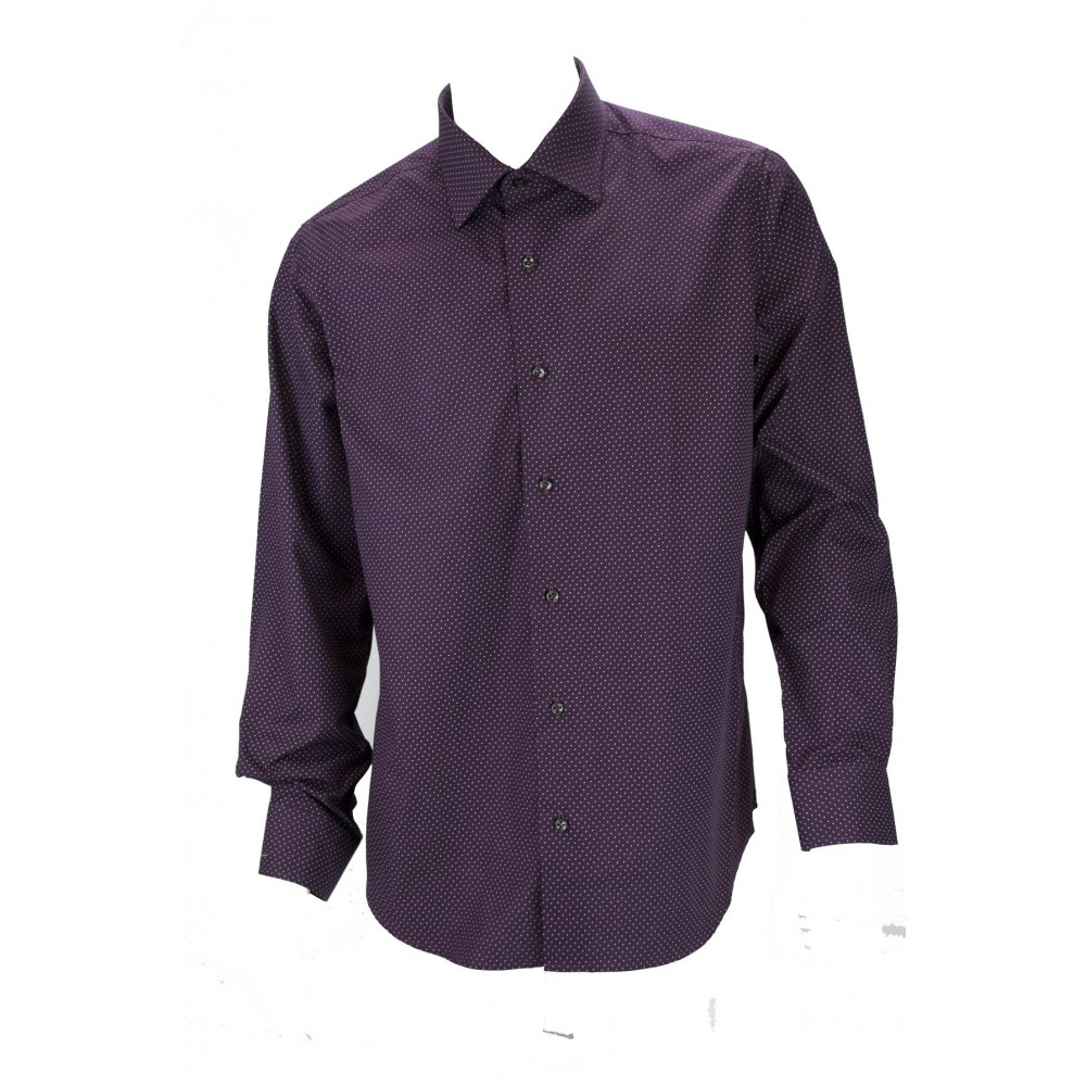 Camicia Uomo Casual Bordeaux Motivo a Pois Bianchi Tessuto Popeline - Philo Vance - Emilia